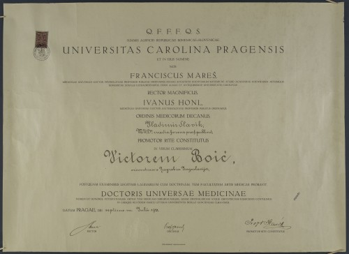 Diploma doktora medicine Viktora Boića