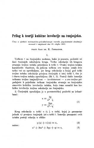 Prilog k teoriji kubične involucije na čunjosjeku