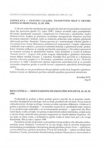 Pavlini i glazba : znanstveni skup u okviru Lepoglavskih dana, Lepoglava, 12.09.1998. / Međunarodni muzikološki kolokvij, Brno (Češka), 28.-30. 09 1998.