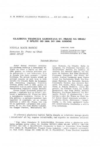 Glazbena tradicija samostana Sv. Frane na Obali u Splitu od 1600. do 1900. godine