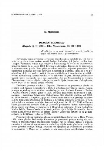 In Memoriam: Dragan Plamenac (Zagreb, 8. II 1895 – Ede, Nizozemska, 15. III 1983)