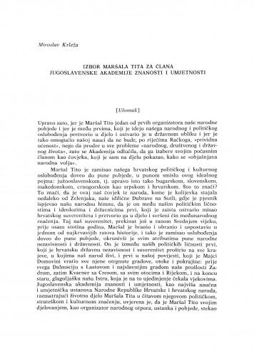 Izbor Maršala Tita za člana Jugoslavenske akademije znanosti i umjetnosti (Ulomak)