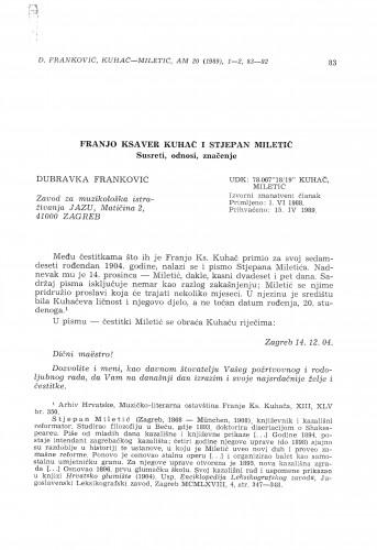 Franjo Ksaver Kuhač i Stjepan Miletić. Susreti, odnosi, značenje