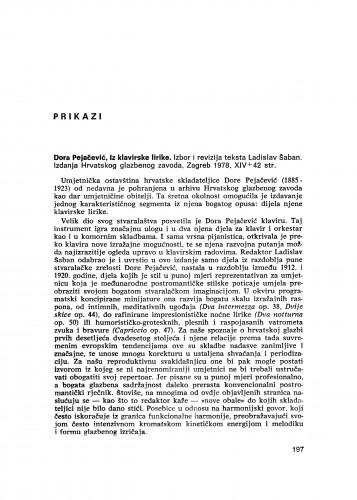 Dora Pejačević: Iz klavirske lirike