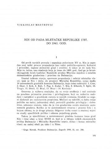 Nin od pada Mletačke Republike 1797. do 1941. god.