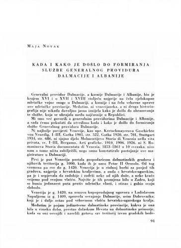 Kada i kako je došlo do formiranja službe generalnog providura Dalmacije i Albanije
