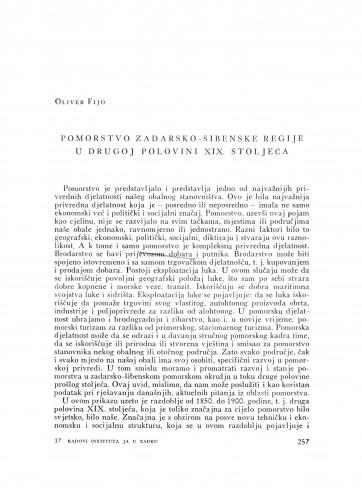 Pomorstvo Zadarsko-šibenske regije u drugoj polovini XIX. stoljeća