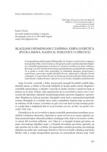 Blagdani i spomendani u zapisima Josipa Lovretića (pučka imena, nazivlje, poslovice i uzrečice)