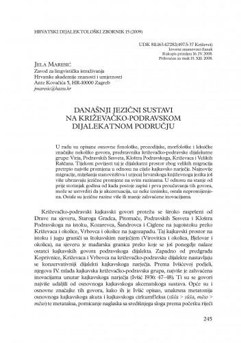 Danjašnji jezični sustavi na križevačko-podravskom dijalekatnom području