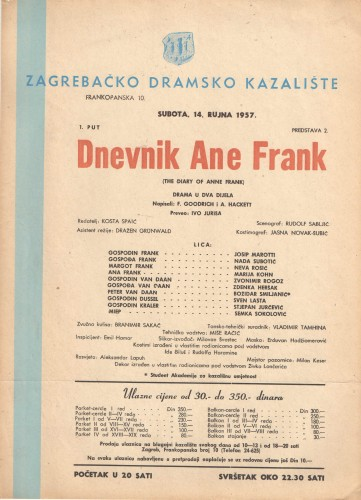 Dnevnik Ane Frank Drama u dva dijela  =  The Diary of Anne Frank