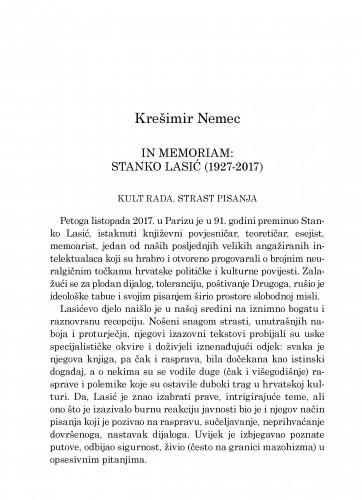 In memoriam: Stanko Lasić (1927-2017) : kult rada, strast pisanja