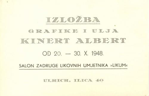 Pozivnica na izložbu grafike i ulja Alberta Kinerta, 20.-30.10.1948.