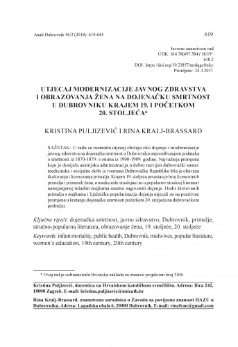 Utjecaj modernizacije javnog zdravstva i obrazovanja žena na dojenačku smrtnost u Dubrovniku krajem 19. i početkom 20. stoljeća / Kristina Puljizević i Rina Kralj-Brassard