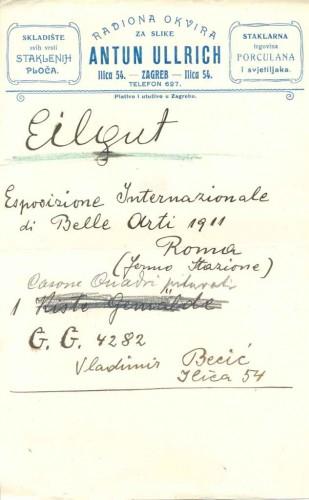 Salon Ullrich - zapis o isporuci radova Vladimira Becića za Međunarodnu  izložbu u Rimu 1911.