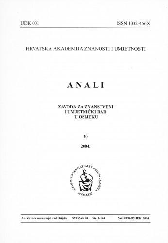 Sv. 20 (2004) : Anali Zavoda za znanstveni i umjetnički rad u Osijeku