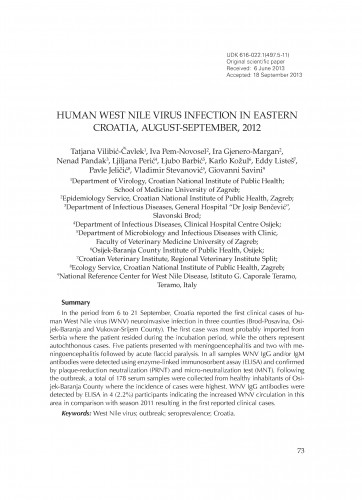 Human West Nile virus infection in eastern Croatia, August-September, 2012