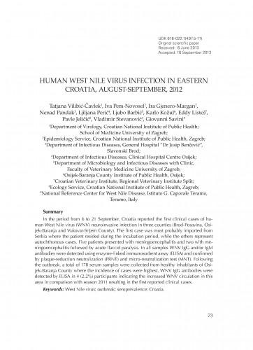 Human West Nile virus infection in eastern Croatia, August-September, 2012
