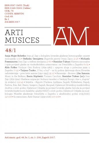 God. 48(2017), br. 1 : Arti musices