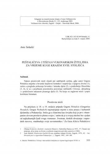 Peštalićeva Utišenja vukovarskim žiteljima za vrijeme kuge krajem XVIII. stoljeća