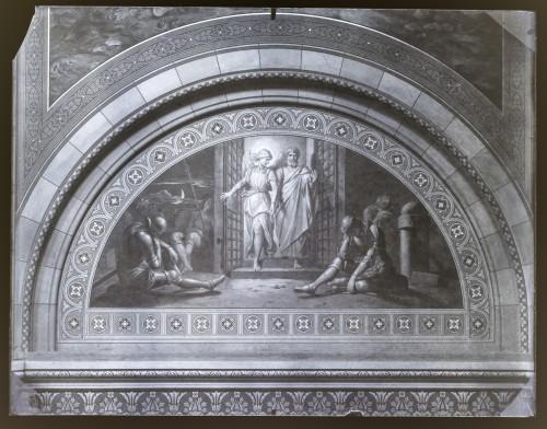 Overbeck, Johann Friedrich (1789)  ; Seitz, Ludovico - Ludwig (1844) : Katedrala sv. Petra (Đakovo) : Oslobađanje svetog Petra iz tamnice, freska u luneti na zidu transepta [C. Angerer & Göschl  ]