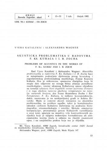 Akustička problematika u radovima F. Ks. Kuhača i I. B. Zocha