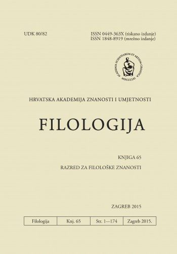 Knj. 65(2015) : Filologija : časopis Razreda za filološke znanosti Hrvatske akademije znanosti i umjetnosti