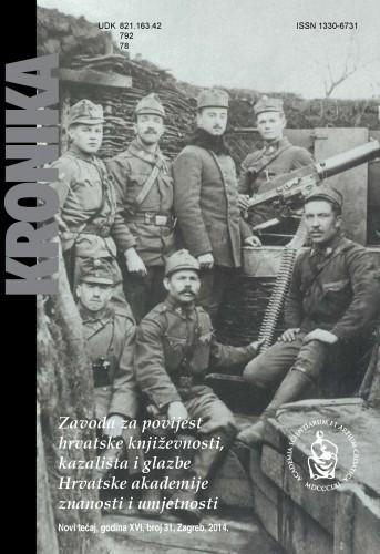 N. t. god. 16, br. 31(2014) : Kronika Zavoda za povijest hrvatske književnosti, kazališta i glazbe HAZU