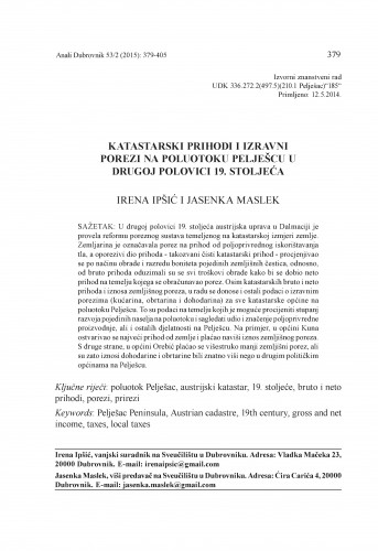 Katastarski prihodi i izravni porezi na poluotoku Pelješcu u drugoj polovici 19. stoljeća / Irena Ipšić, Jasenka Maslek