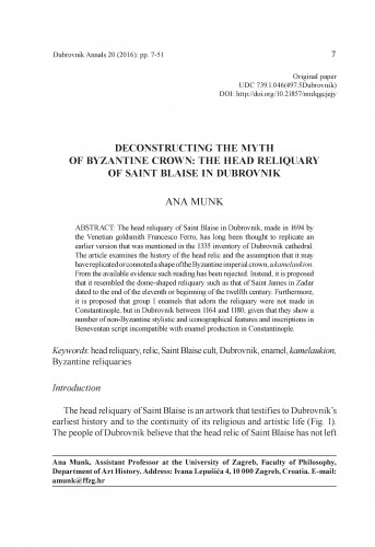 Deconstructing the myth of Byzantine crown : the head reliquary of Saint Blaise in Dubrovnik / Ana Munk