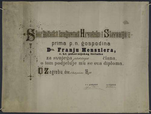 Povelja člana Sbora liečnika kraljevina Hrvatske i Slavonije dr. Franje Henszlera