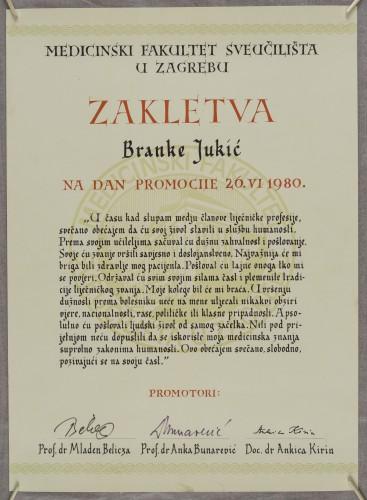 Zakletva Branke Jukić na dan promocije 26.VI 1980. - Ženevska zakletva u prigodi promoviranja doktora