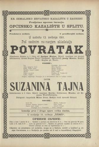 Povratak ; Suzanina tajna : Glazbena drama u jednom činu: Intermezzo u jednom činu
