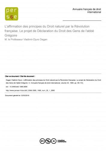 L'affirmation des principes du Droit naturel par la Révolution française. Le projet de Déclaration du Droit des Gens de l'abbé Grégoire