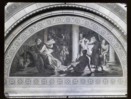 Seitz, Ludovico - Ludwig (1844) : Katedrala sv. Petra (Đakovo) : Petrovo zatajenje, freska u luneti na zidu transepta [C. Angerer & Göschl  ]