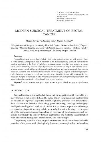 Modern surgical treatment of rectal cancer / Mario Zovak, Zdenko Bilić, Mario Kopljar