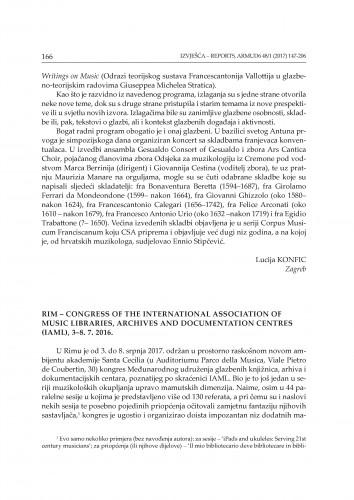 Rim - Congress of the International Association of Music Libraries, Archives and Documentation Centres (IAML), 3-8. 7. 2016. : [izvješće] / Stanislav Tuksar