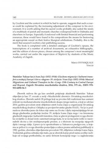 Stanislav Tuksar (ur.): Ivan Zajc (1832-1914): Glazbene migracije i kulturni transferi u srednjoj Europi i šire u
