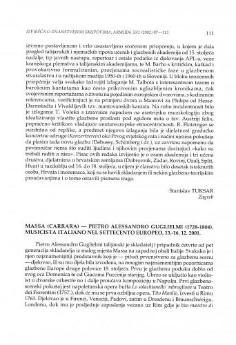 Massa (Carrara) - Pietro Alessandro Guglielmi (1728-1804). Musicista Italiano nel Settecento Europeo, 13.-16. 12. 2001.