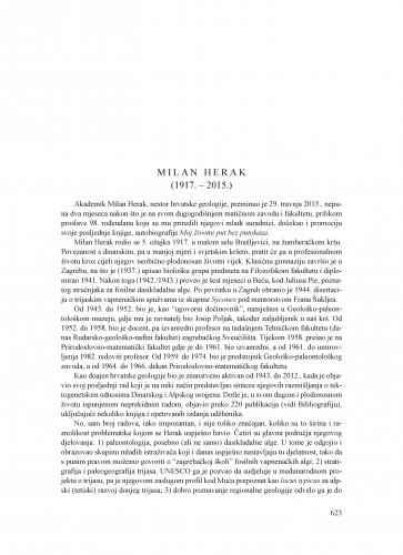 Milan Herak (1917.-2015.) : [nekrolog]