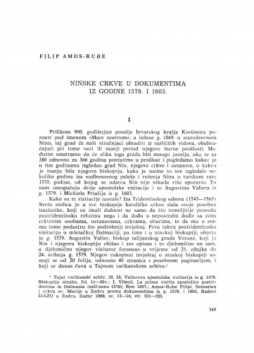 Ninske crkve u dokumentima iz godine 1579. i 1603.