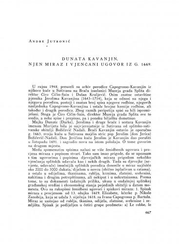 Dunata Kavanjin, njen miraz i vjenčani ugovor iz g. 1669.