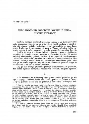 Zemljoposjed porodice Lovrić iz Sinja u XVIII stoljeću
