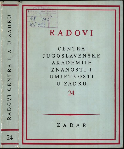 Sv. 24(1977) : Radovi Centra Jugoslavenske akademije znanosti i umjetnosti u Zadru