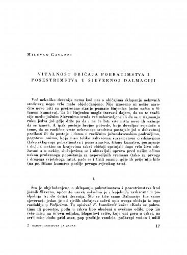 Vitalnost običaja pobratimstva i posestrinstva u sjevernoj Dalmaciji