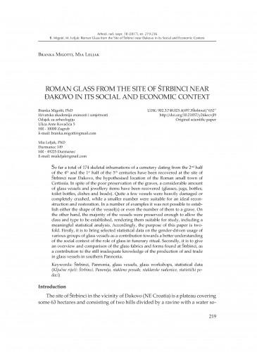 Roman Glass From the Site of Štrbinci near Đakovo in its Social and Economic Context / Branka Migotti, Mia Leljak