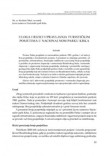 Uloga i rizici upravljanja turističkim posjetima u Nacionalnom parku Krka : [prilog za raspravu]