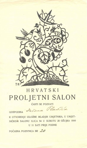 Pozivnica za 1. izložbu Hrvatskog proljetnog salona
