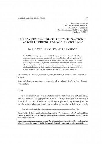 Mreža kumova u Blatu i Pupnatu na otoku Korčuli u drugoj polovici 19. stoljeća / Daria Vučijević i Ivana Lazarević