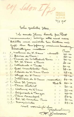 Pismo T. F. Šimona Antunu Ullrichu, Prag, 21.5.1915.