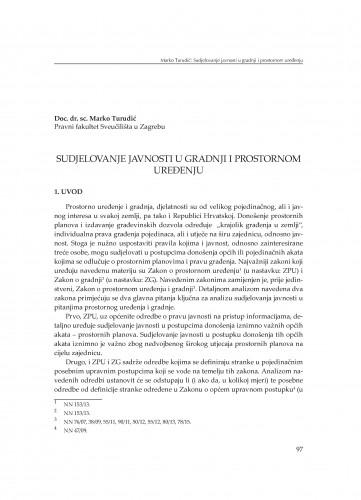 Sudjelovanje javnosti u gradnji i prostornom uređenju : [uvodno izlaganje]
